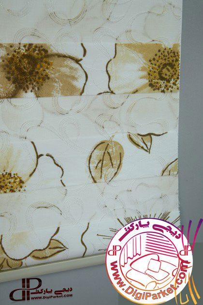 پرده زبرا چاپی زردوز گل خوش سایه کالیته 28-3 کد ZBB 24002