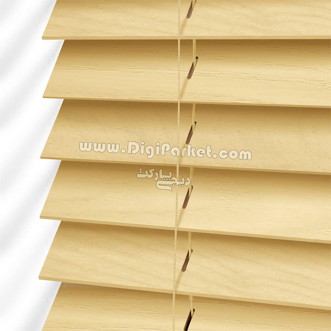 پرده کرکره چوبی زرد رنگ  خوش سایه