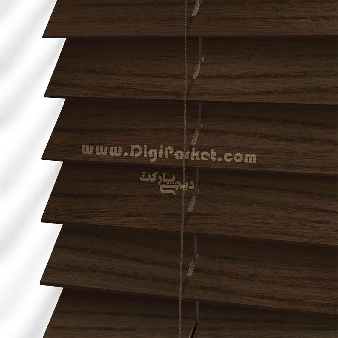 پرده کرکره چوبی رنگ گردویی  خوش سایه