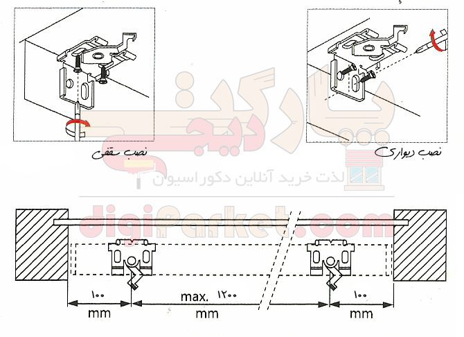 نصب پایه پرده کرکره فلزی
