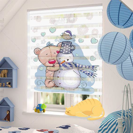 پرده کودک خرس کوچولو و ادم برفی