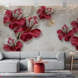 پوستر دیواری سه بعدی گل قرمز