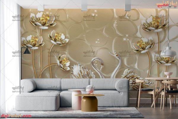 پوستر دیواری سه بعدی گل طلایی بژ