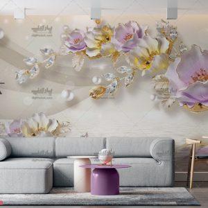 پوستر دیواری طرح گل یاسی و طلایی