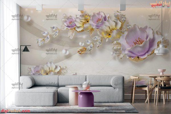 پوستر دیواری طرح گل یاسی