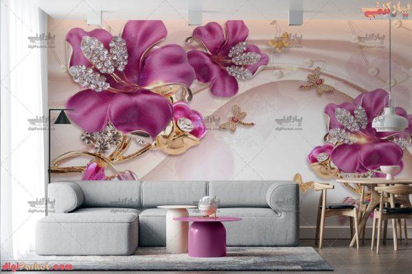 پوستر دیواری طرح سه بعدی گل بنفش