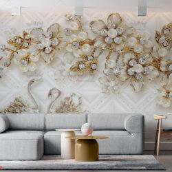 پوستر دیواری طرح سه بعدی جواهری شکوفه و قو