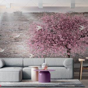 پوستر دیواری درخت شکوفه های صورتی