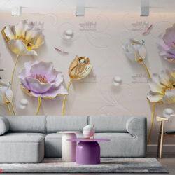 پوستر دیواری طرح گل و مروارید