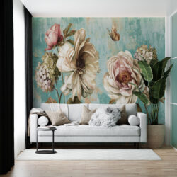 پوستر دیواری طرح گل و پروانه