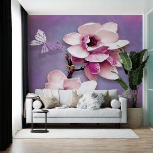 پوستر دیواری طرح گل با زمینه بنفش
