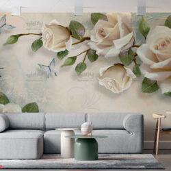 پوستر دیواری طرح گل رز سفید