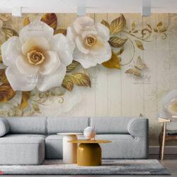 پوستر دیواری طرح گل سفید