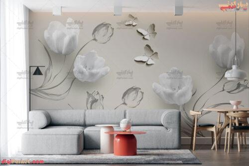 پوستر دیواری طرح گل لاله سفید و پروانه