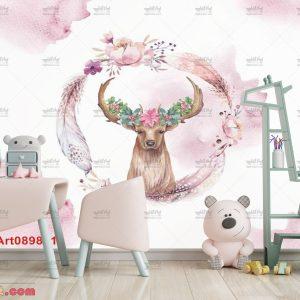 پوستر دیواری طرح گوزن صورتی مناسب اتاق کودک