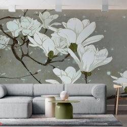 پوستر دیواری طرح شکوفه سفید
