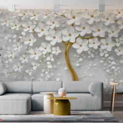 پوستر دیواری سه بعدی طرح شکوفه